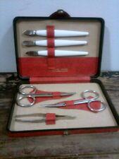 Vtg Manicure Kit Ground Leather Case Austria Tools Germany Red Black Solingen