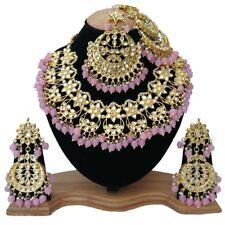 Meena Kundan Pearls Stylish Necklace Jewelry with Mang Tikka Chand Pattern Passa