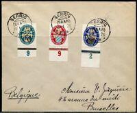 GERMANY SCOTT# B12/14 ON COVER SERIG SAAR 1926 CANCEL TO BRUSSELS BELGIUM