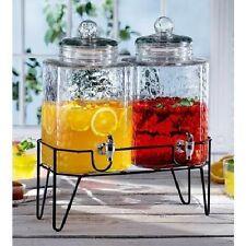 Glass Dispenser Beverage on Stand Set of 2 Drink Cold Spigot Water Tea Leak NEW