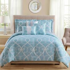 10pc Scroll Design Comforter Sets Mint, White, Queen size.