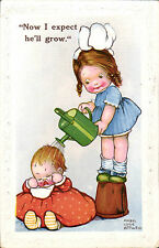 Mabel Lucie Attwell. Now I Expect He'll Grow # 174 in MM Series.. Watering Can.