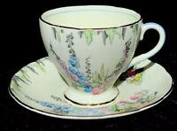 Foley Bone China England Footed Tea Cup & Saucer Set FOL16 Tall Pastel Flowers