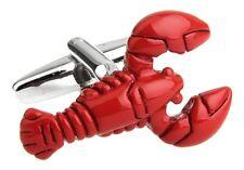 Lobster Pair Cufflinks Red Seafood Wedding Fancy Gift Box & Polishing Cloth