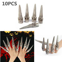 10PCS Horror Skeleton Fake Fingers Nails Claws Costume Halloween Party Props US