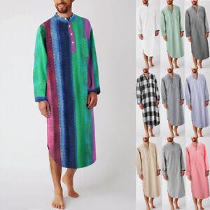 Mens Long Sleeve Soft Bathrobe Nightshirt Kaftan Dressing Gown Nightwear Pajamas