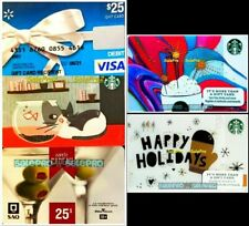 5x STARBUCKS CAT CREDIT SAQ OLIVE WINE HOLIDAY LATTE COLLECTIBLE GIFT CARD LOT