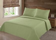 MIDWEST SAGE GREEN NENA SOLID QUILT BEDDING BEDSPREAD COVERLET PILLOW CASES SET