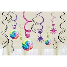 Party Supplies Birthday 60's 70's Disco Fever Hanging Swirls Decorations Pk 12