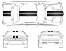 """9"""" Double RACING STRIPES Black CARBON FIBER vinyl Car (Fits Dodge CHALLENGER)"""