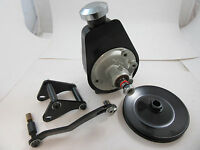 SB Chevy SBC Black Saginaw Power Steering Pump Kit W/ Mounting Bracket & Pulley