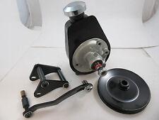 SB Chevy SBC Black Saginaw Power Steering Pump Kit W/ Mounting Bracket & Pulley
