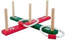 Quoits Wooden Garden Indoor Outdoor Quoits Family Pegs And Rope Hoopla Game