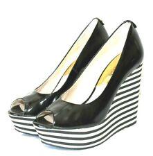 MICHAEL KORS Adalia Black Patent Leather Peep Toe Striped Wedge Size 7M