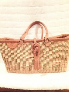 Il Bisonte Leather and Straw Tote