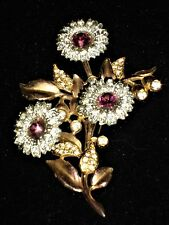 STUNNING ANTIQUE TREMBLE BROOCH CLEAR RHINESTONE FLOWERS W/PURPLE CENTERS SHIMMY