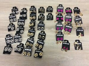 LOT OF 37 PAIRS Avenue Earrings Gold SILVER Textured Hoops & Large Open NWT B5