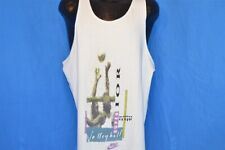 vintage 80s NIKE SUPER VOLLEYBALL WHITE TANK TOP GREY TAG BEACH t-shirt XL