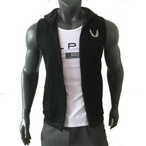 Gym Fitness Hoodie Men Short Sleeve Sweatshirt Bodybuilding Workout Cotton Vests