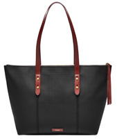 Fossil💋 Jayda Black Large Leather Shoulder Tote with Gold Tone Hardware