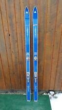 "ANTIQUE Wooden 68"" Long Skis Signed EXPERT II + Bindings"