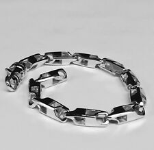 "14k Solid White Gold Handmade Fashion Link Mens Chain Bracelet 8.5"" 28grms 5.5MM"