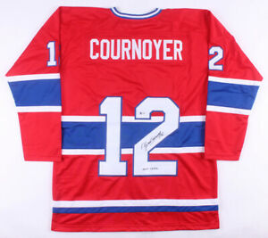"""Yvan Cournoyer Signed Canadiens Captains Jersey Inscribed """"H.O.F. 1982"""" Beckett"""