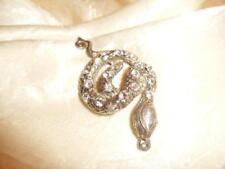 SNAKE Necklace Coiled serpent 22 Rhinestones Pendant Vintage