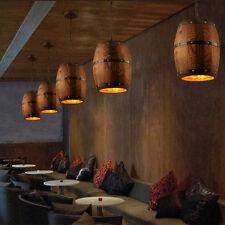 Vintage Wood Wine Barrel Hanging Fixture Ceiling Pendant Lamp Light Cafe Bar
