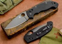 "Spyderco Manix 2 XL Folding Knife 3.85"" Black CPMS30V Steel Blade G10 Handle"