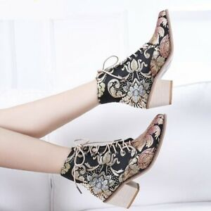 Women Vintage Floral Embroidered Block Heel Cowboy Boots Height Ankle Booties