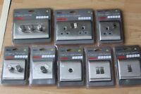 Homebase Raised Slimline Screwless Brushed Steel Switches Sockets Dimmers Co-ax