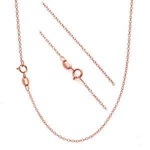 18K Rose Gold over 925 Sterling Silver 1mm Thin Italian Cable Chain Necklace