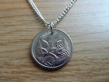"""Handmade 'Animal Series' Echidna (Hedgehog) Coin Pendant 18"""" Plated Necklace"""
