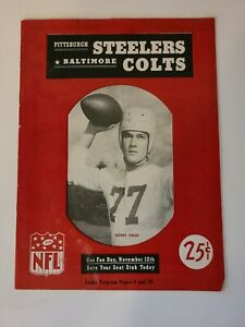 1950 PITTSBURGH STEELERS VS BALTIMORE COLTS GAME PROGRAM FORBES FIELD 11/12/1950