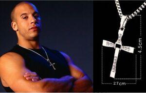 Halskette Kreuz Anhänger Vin Diesel GOLD/SILBER Toretto Schmuck Geschenk Herren