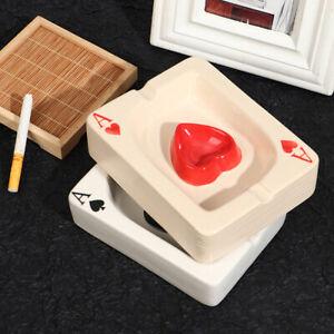 Poker Ashtray Cigar Cigarette Ash Tray White Porcelain Creative Home Gadgers