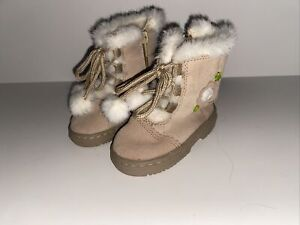 Brown Faux Suede Fur Booties Toddler Baby Girls Winter Boots Shoes Pom Poms Sz 4