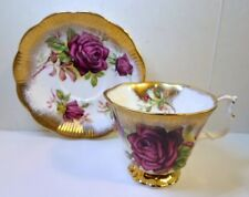 Royal Albert GOLD CREST RED ROSE CUP & SAUCER 4463 Heavy Brushed Gold Bone China