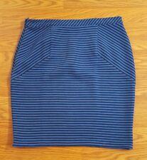 "Ann Taylor 10 Black Blue Striped Pencil Skirt 33"" Waist Side Zip Stretch"