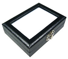 GLASS TOP GEM DIAMOND JEWELRY COIN BEAD DISPLAY BOX CASE STORAGE 8x10cm BIG LOCK