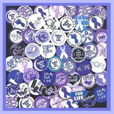 100 Precut assorted RELAY FOR LIFE Cancer AWARENESS 1 inch BOTTLE CAP IMAGES