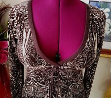 Juicy Couture Dress Small Brown & Cream Velour Above The Knee Long Sleeve Womens