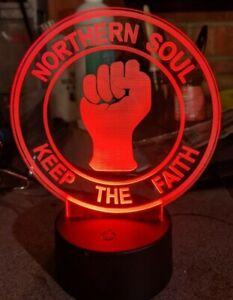 Northern Soul Keep the Faith Acrylic Engraved LED lamp