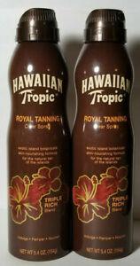 2 Hawaiian Tropic Royal Tanning Clear Spray Triple Rich Blend Exotic 5.4 oz Each