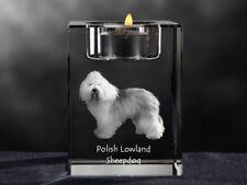 Polish Lowland Sheepdog, crystal candlestick with dog, Crystal Animals Usa