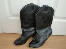 NEW LOOK BOOTS LEATHER BLACK SIZE 6 EU 39 PULL ON LADIES GIRLS WESTERN COWBOY