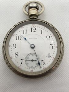 Waltham Pocket Watch, 18s,17J, Dueber Silverine Case, Running Strong, Nickel