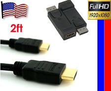 New Kit-2ft Gold High Speed HDMI Cable+Display Port to HDMI MF Converter Coupler
