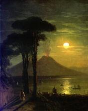 Oil Ivan Constantinovich Aivazovsky The Bay of Naples at moonlit night Vesuvius